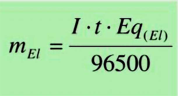 Công thức tính khối lượng vật chất giải phóng ở điện cực