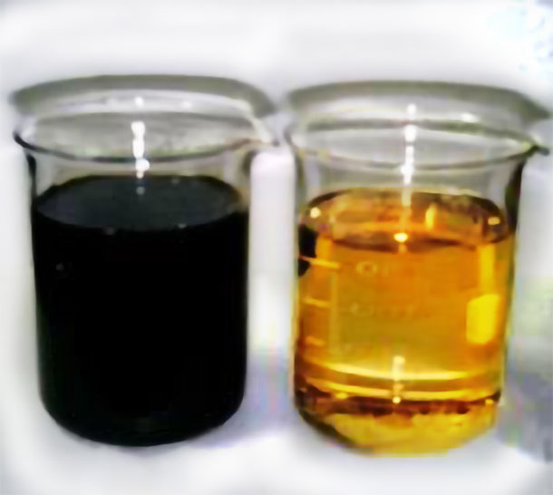 Lubricant oil after and before using has a completely changed in color and quality